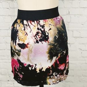 Abstract mixed color print A line skirt (X-Small)